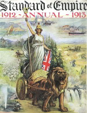 The jingoistic cover of an Edwardian annual celebrating the virtues of Britain and its empire
