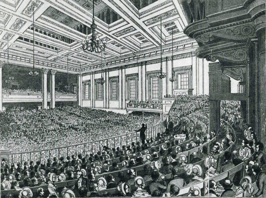 A meeting of the Anti-Corn Law League in Exeter Hall in 1846.