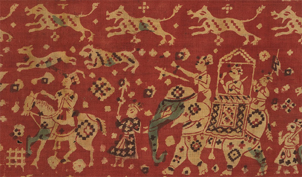 Block-printed ceremonial hanging with hunting scene, made in Gujarat for the Indonesian market, c.1700. British Museum