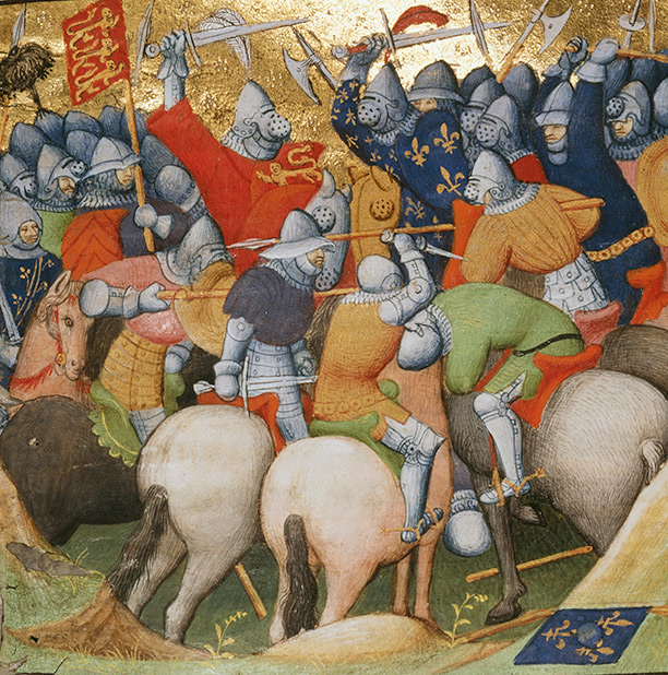 The Battle of Crécy in an illumination from 'Les Chroniques de France', c.1350
