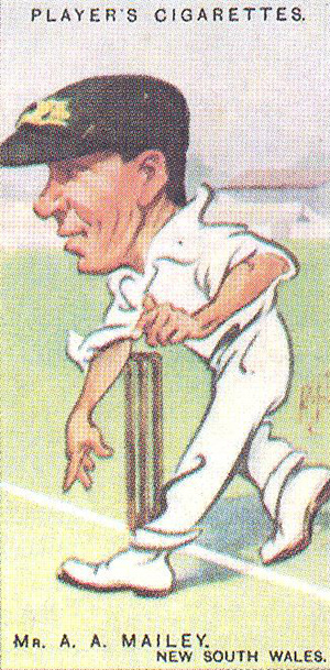 'Mr. A.A.Mailey, New South Wales' by 'Rip' (Rowland Pretty Hill). Player's cigarette card, 1926.