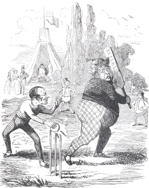 'O'Connell Stumped Out', John Leech, Punch, February 13th, 1847