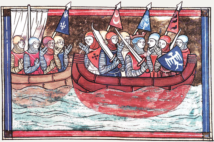 Crusaders embark for the Levant. From 'Le Roman de Godefroi de Bouillon', France, 1337. Bibliothèque Nationale / Bridgeman Images