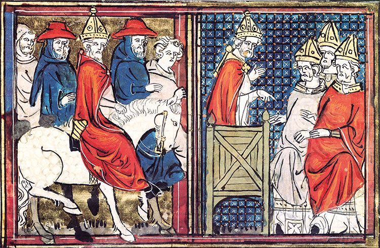 The Council of Clermont and the arrival of Pope Urban II. Bibliothèque Nationale / Bridgeman Images