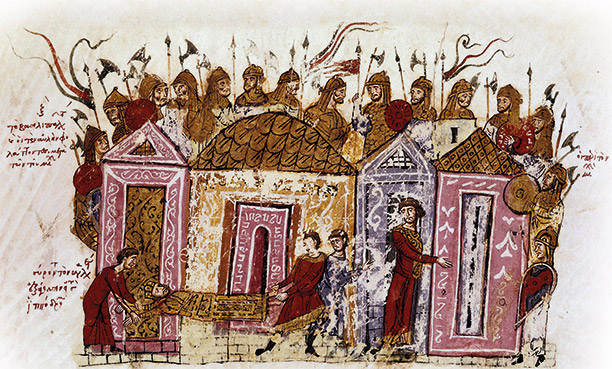 Imperial bodyguard: Viking mercenaries in a 12th-century Skylitzes manuscript. AKG Images / Biblioteca Nacional, Madrid