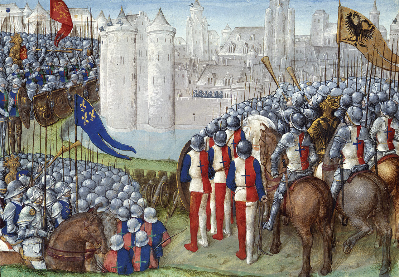 Crusades besieging Damascus, under banners of England, France and the Holy Roman Empire, during the Second Crusade, 1148. From the Latin History of the Crusades. Bruges, 15th century.