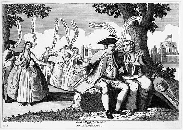 Duke of Cumberland seated on a bank with the Savoyard girl, his arm about her neck. The Duke's rival mistresses stand behind, and are vehemently jealous.
