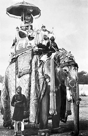Lord and Lady Curzon on the elephant Lakshman Prasad, 29 December 1902