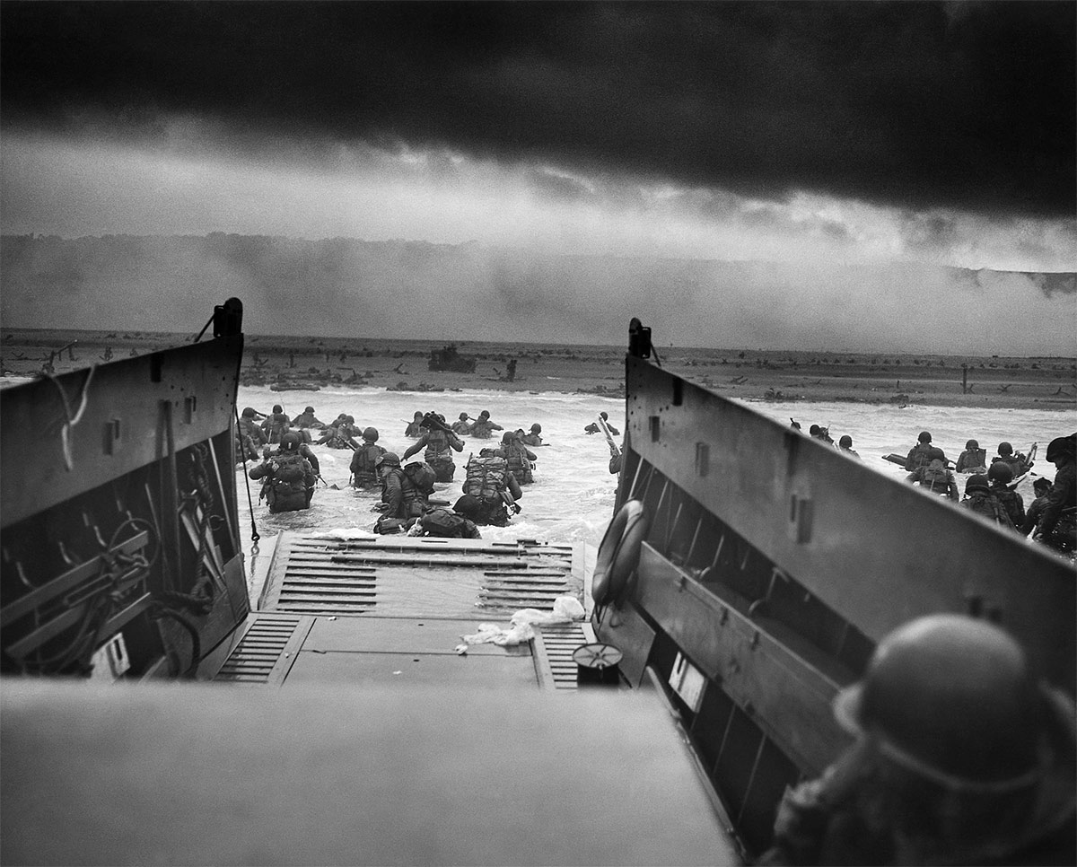 Taxis to Hell – and Back – Into the Jaws of Death, by Robert F. Sargent, a chief photographer's mate in the US Coast Guard, depicts the 1st Infantry Division disembarking at Omaha Beach, 6 June 1944.