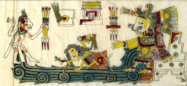 A boat bearing Chalchiuhtlicue, the Aztec goddess of rivers and water, a detail from a 19th-century facsimile edition of the Codex Borgia, a pre-Columbian manuscript.