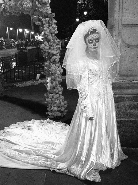 A girl dressed as La Llorona during the Day of the Dead celebrations in Morelia, central Mexico, 2012.