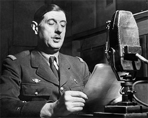 General de Gaulle speaking on BBC Radio during the war