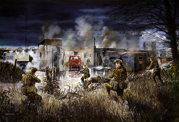 The 1st Battalion King's Own Scottish Borderers commissioned David Rowlands to paint 'The Derryard Action' soon after the event.