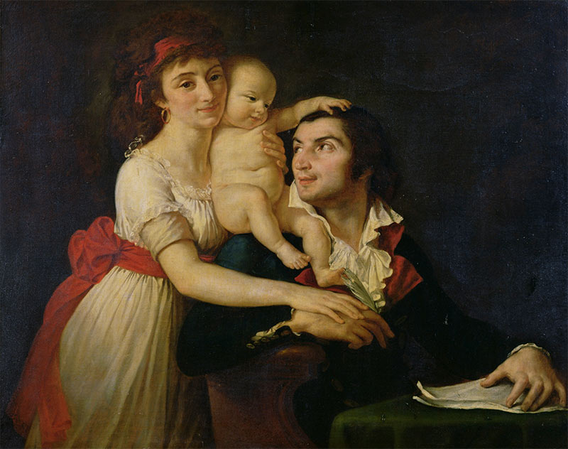 Camille Desmoulins with his wife, Lucille, and their son, Horace-Camille, c.1792, by Jacques-Louis David. Chateau de Versailles / Bridgeman Images