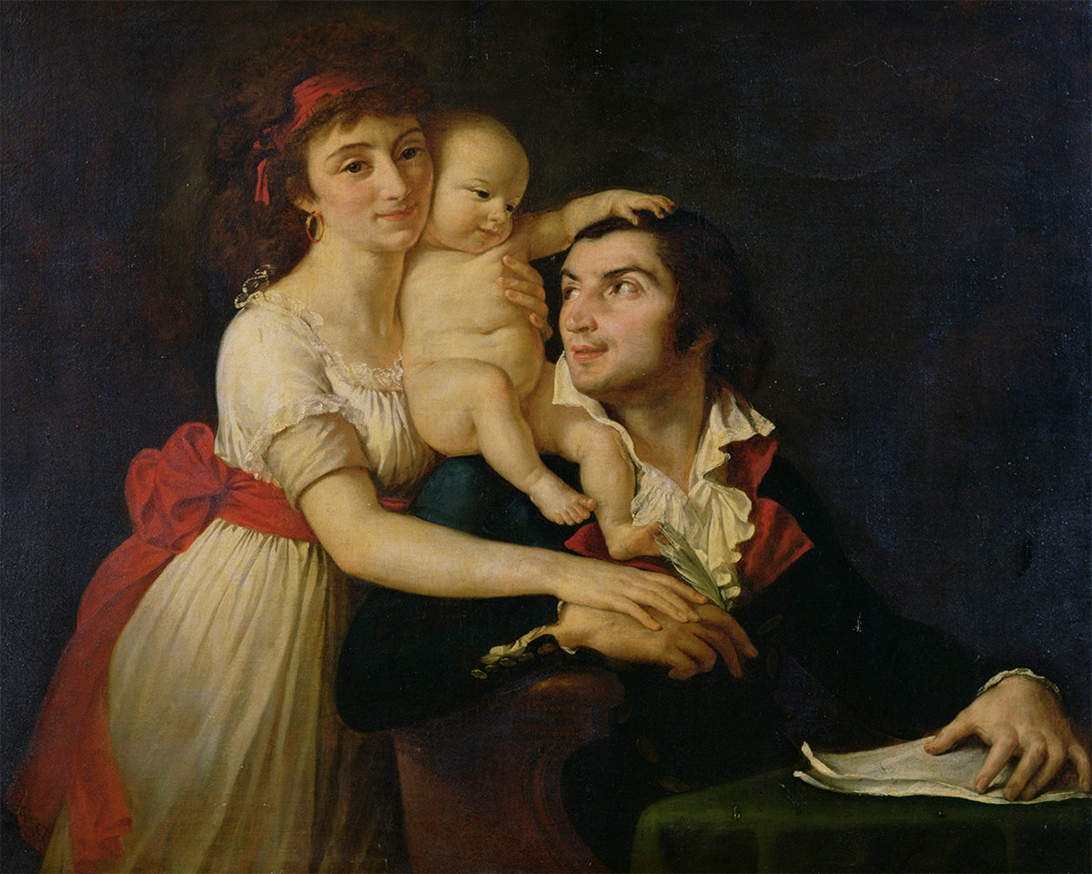 Camille Desmoulins with his wife, Lucille, and their son, Horace-Camille, c.1792, by Jacques-Louis David. (Chateau de Versailles / Bridgeman Images)