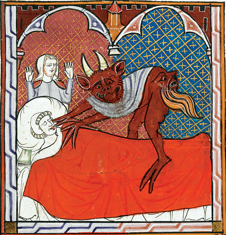 The devil appears over a man in his deathbed. French miniature, c.1300.