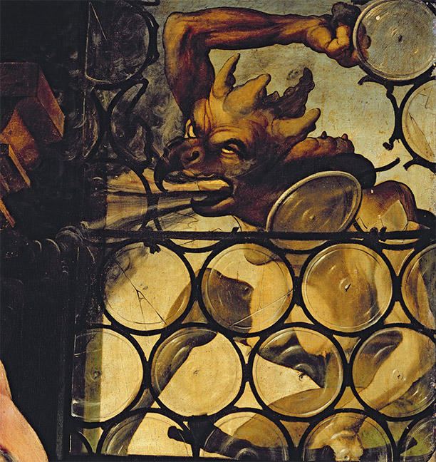 The devil attacking a window, a detail from St Anthony the Hermit by Matthias Grunewald (c.1470-1528)