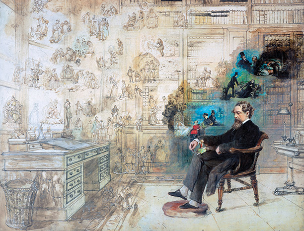 What the Dickens! The great Victorian novelist depicted at home among his creations by Robert William Buss, 1875.