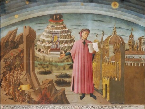 Domenico di Michelino, La Divina Commedia di Dante (Dante and the Divine Comedy). Fresco in the nave of the Duomo of Florence, Italy.
