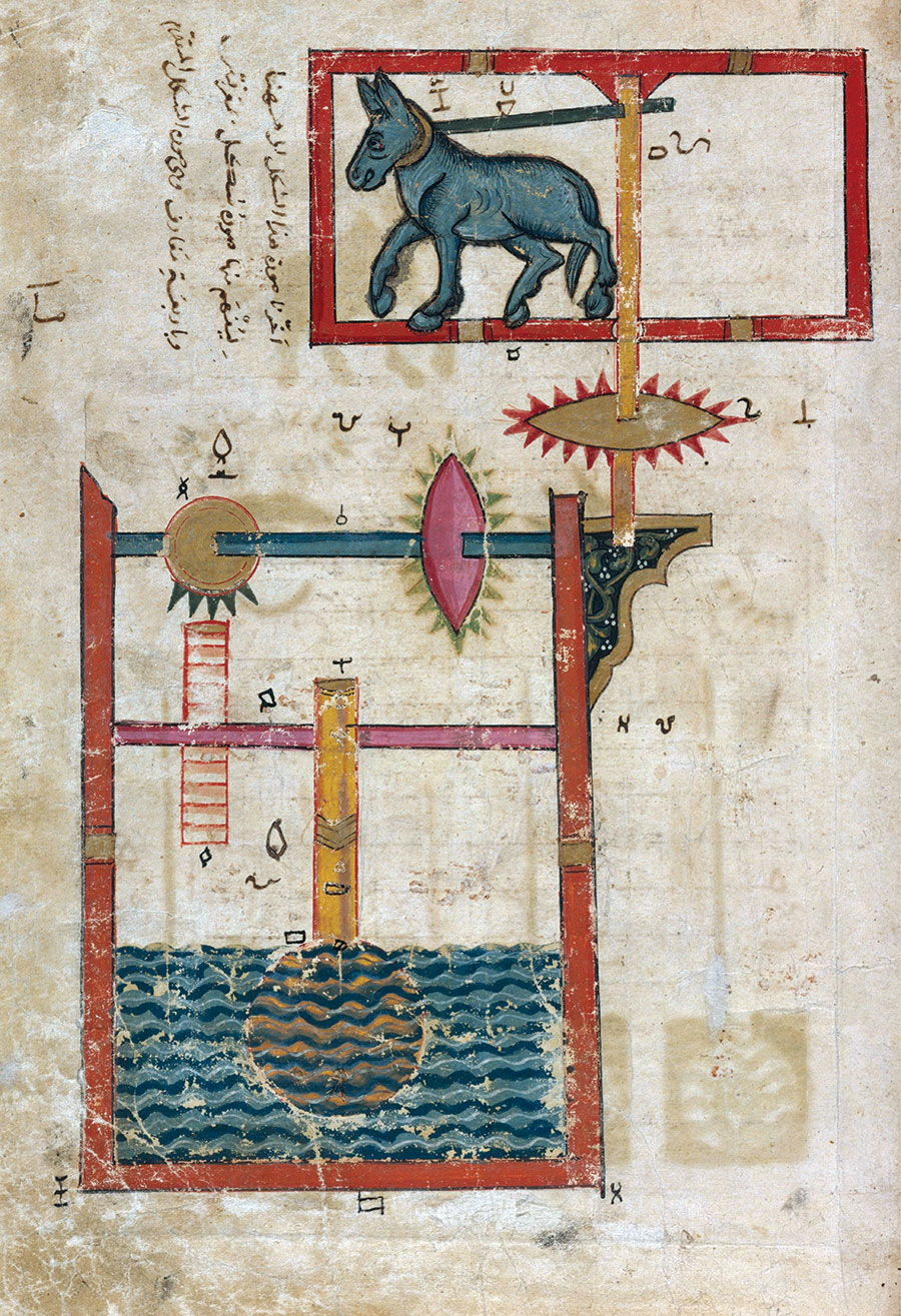 'Design on Each Side for  a Waterwheel Worked by Donkey Power', from The Book of the Knowledge of Ingenious Mechanical Devices, al-Jazari, 1206.