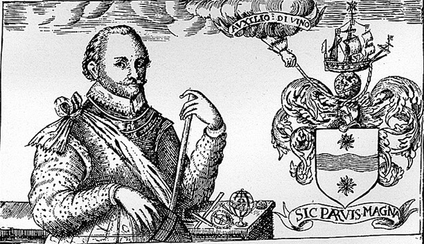 "Sir Francis Drake with his new heraldic achievement, with motto: Sic Parvis Magna, translated literally: ""Thus great things from small things (come)""."