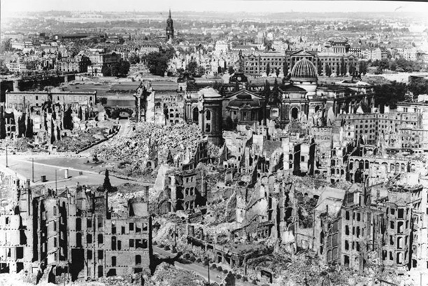 Dresden after the Allied bombing raid, 1945