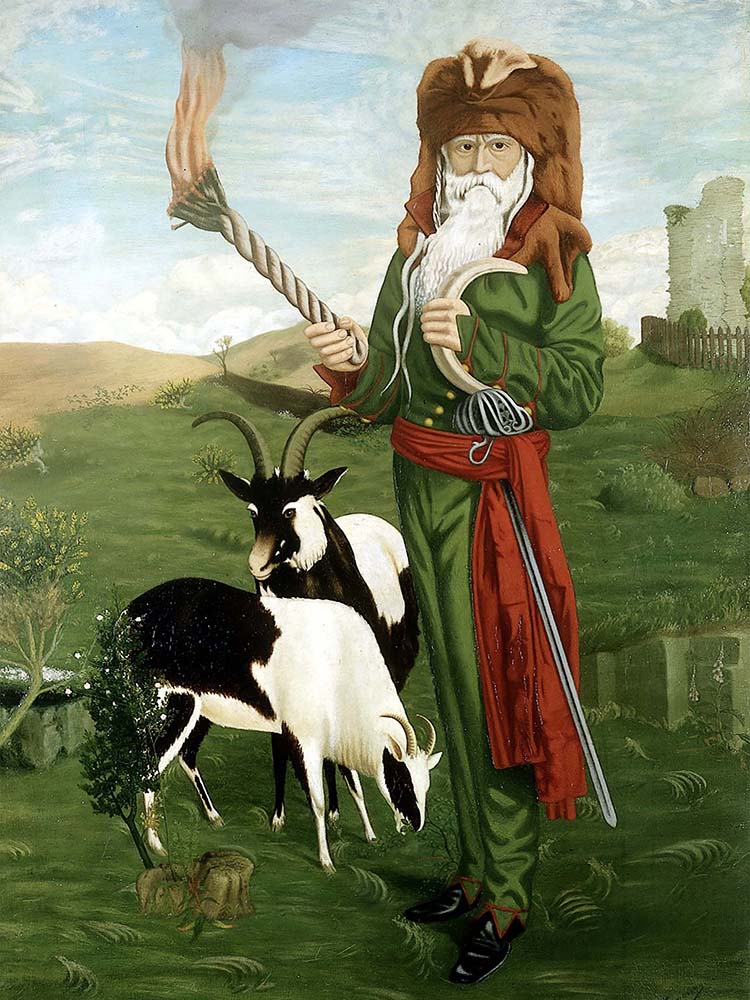 William Price of Llantrisant (1800-1893) in druidic costume, with goats. A C Hemming, 1918.
