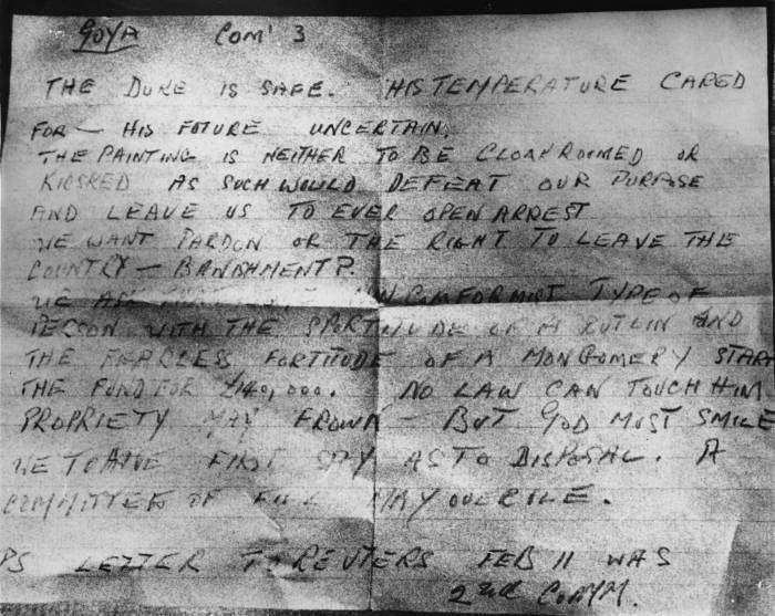 One of the ransom letters received by the Exchange Telegraph news agency after the theft. (Getty Images)