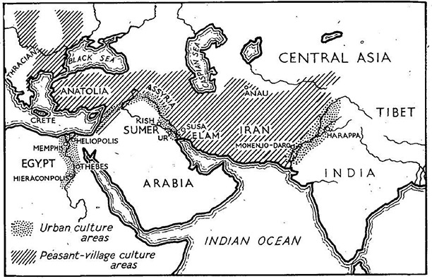 The earliest civilsations in the Middle East. Map by S.H. Perrin