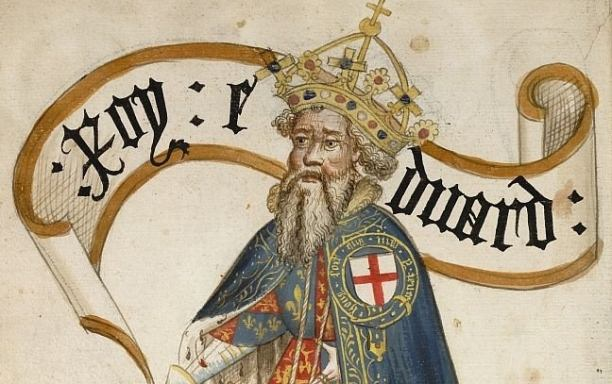 A mediaeval miniature of Edward III of England. The king is wearing a blue garter, of the Order of the Garter, over his plate armour.
