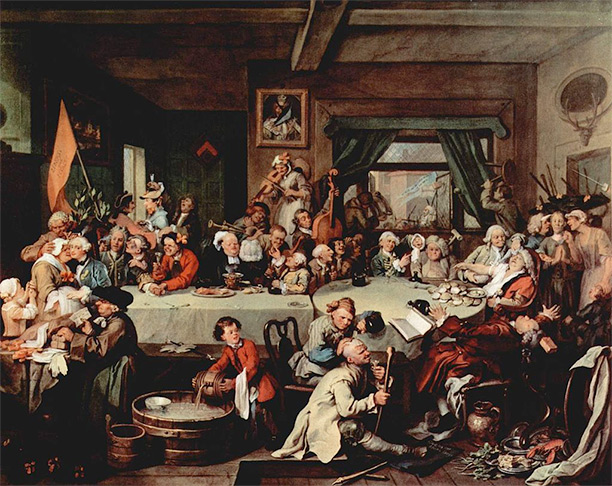 "The William Hogarth painting Humours of an Election (c. 1755), which is the main source for ""Give us our Eleven Days""."