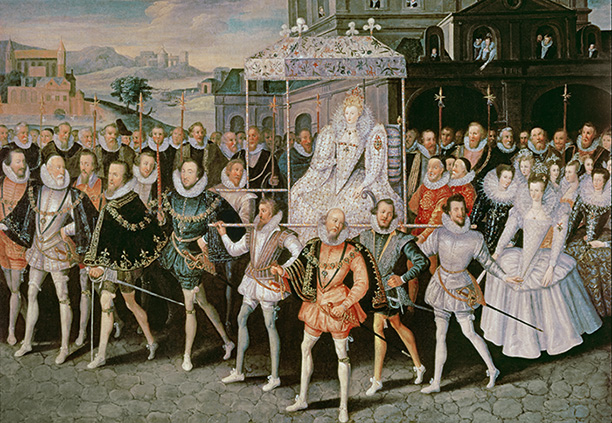 'Eliza Triumphans' by Robert Peake c.1601 shows Elizabeth in procession to Blackfriars with her courtiers. Bridgeman/Private Collection