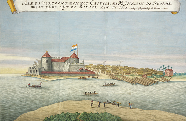 Flying the flag: Elmina Castle following the Dutch conquest of 1637, an illustration used in the 'Atlas Blaeu-van der Hem'.