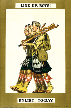 Side by side: recruitment poster featuring Scottish soldiers
