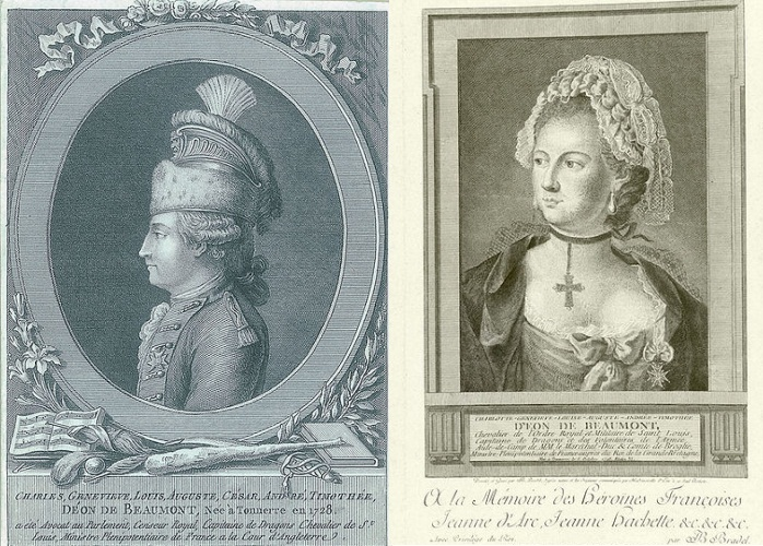Two different depictions of the Chevalier d'Eon. The left hand one is by Pierre-Adrien Le Beau; to the right is an engraving by J.B. Bradel dated 1779.
