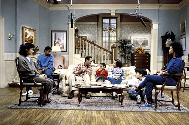 The Huxtable family in their Brooklyn apartment, from the 1984 Cosby Show. Getty Images/NBC Universal