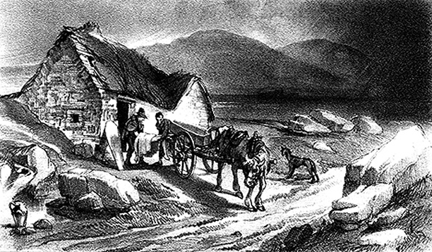 Frontispiece illustration from 'Narrative of a Journey from Oxford to Skibbereen during the year of the Irish Famine', written in 1847 by Lord Duffering and G.F.Boyle to raise relief funds