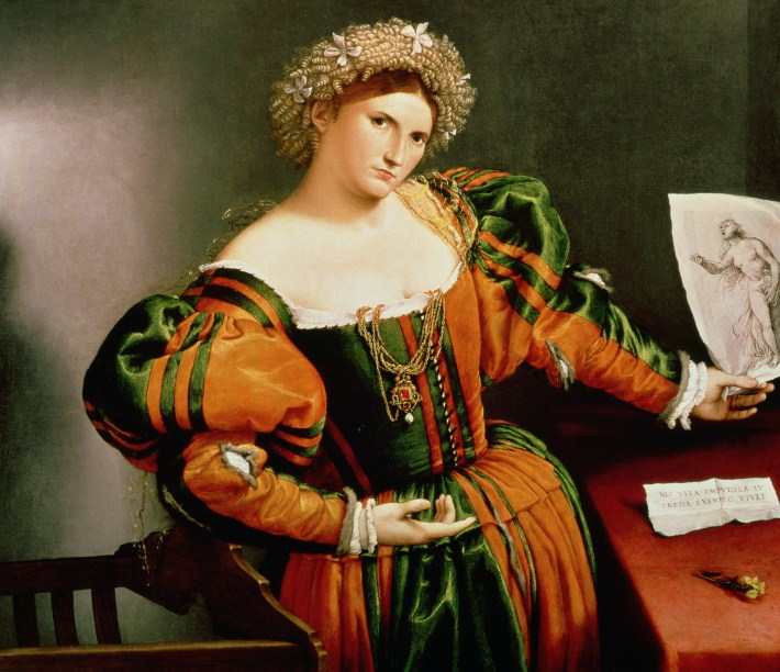 A Lady With Drawing Of Lucretia By Lorenzo Lotto C 1530