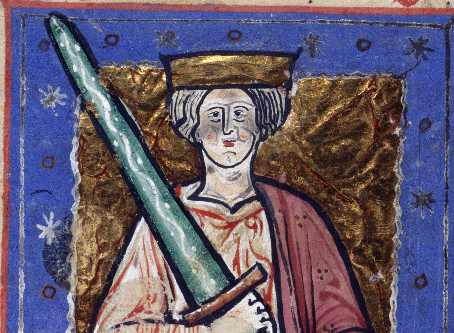 Portrait of Æthelred from the Abingdon Chronicle, c.1220.