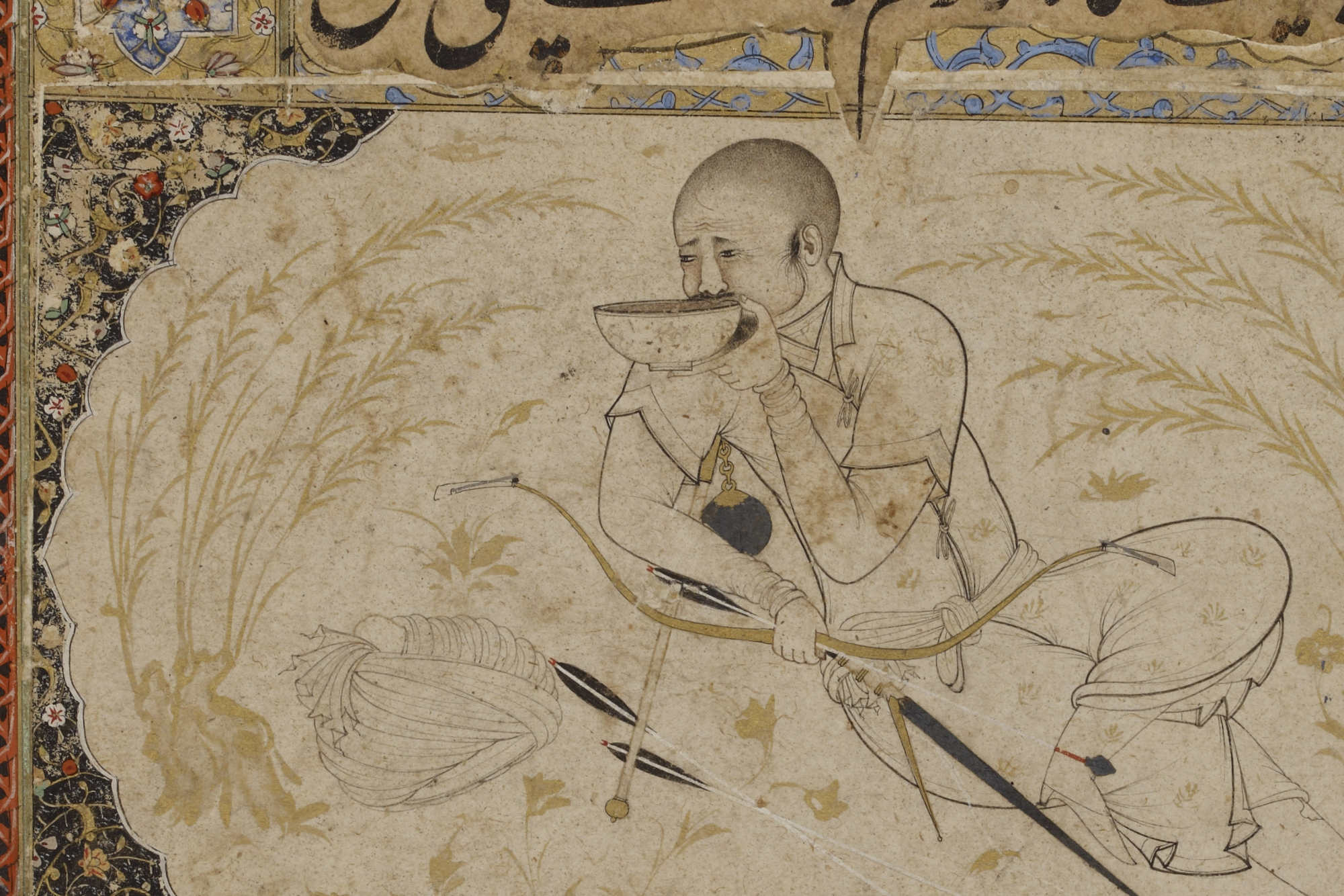 Hulegu Khan, with a drinking bowl and his weapons, Persian, 16th century. (Trustees of the British Museum)