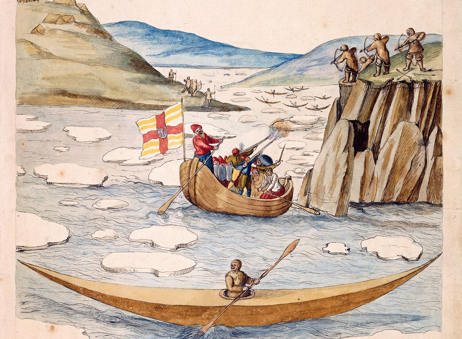 Illustration of Frobisher's encounter with Inuit, possible at 'Bloody Point', by John White. c.1577.  © British Library Board
