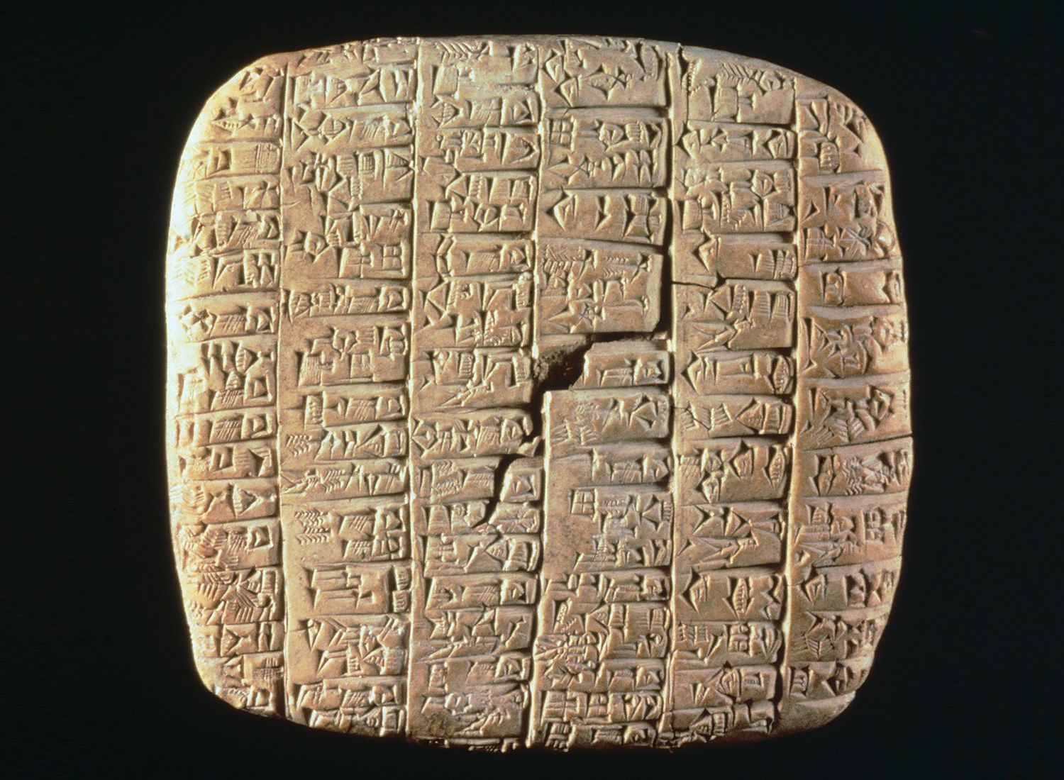 A clay tablet discovered at Ebla engraved with cuneiform characters, third millennium BC.
