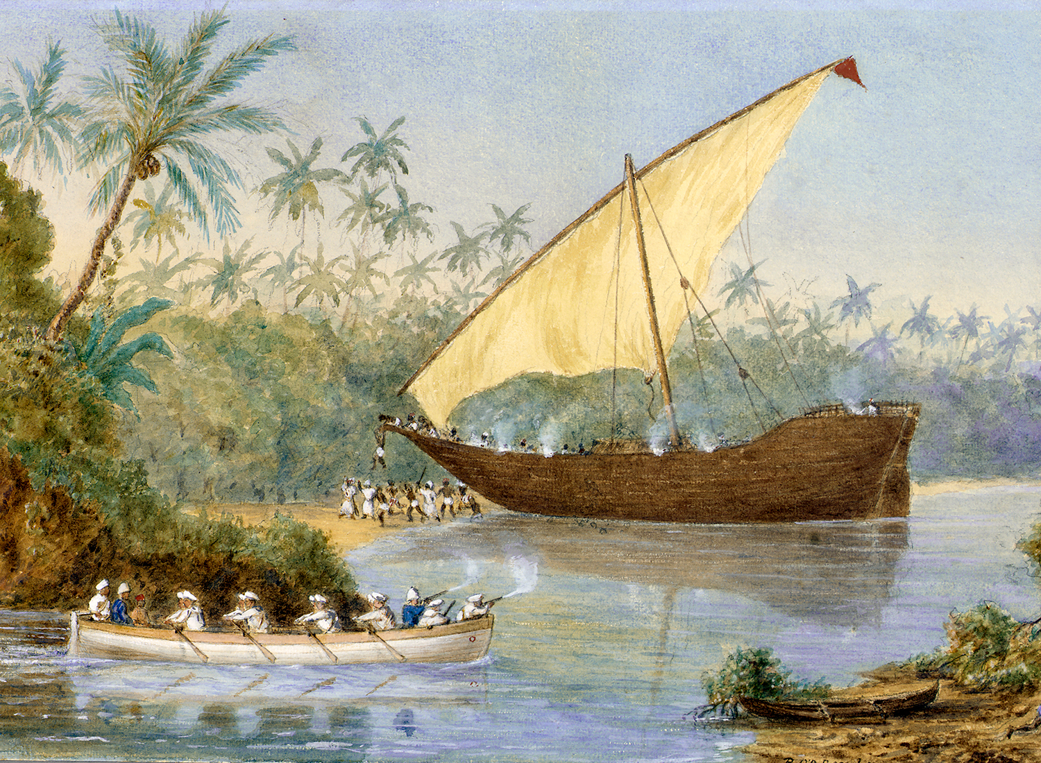 HMS London chasing a slaving dhow near Zanzibar. Watercolour by Rev Robert O'Donelan Ross-Lewin, 1876-77. (National Maritime Museum, Greenwich)