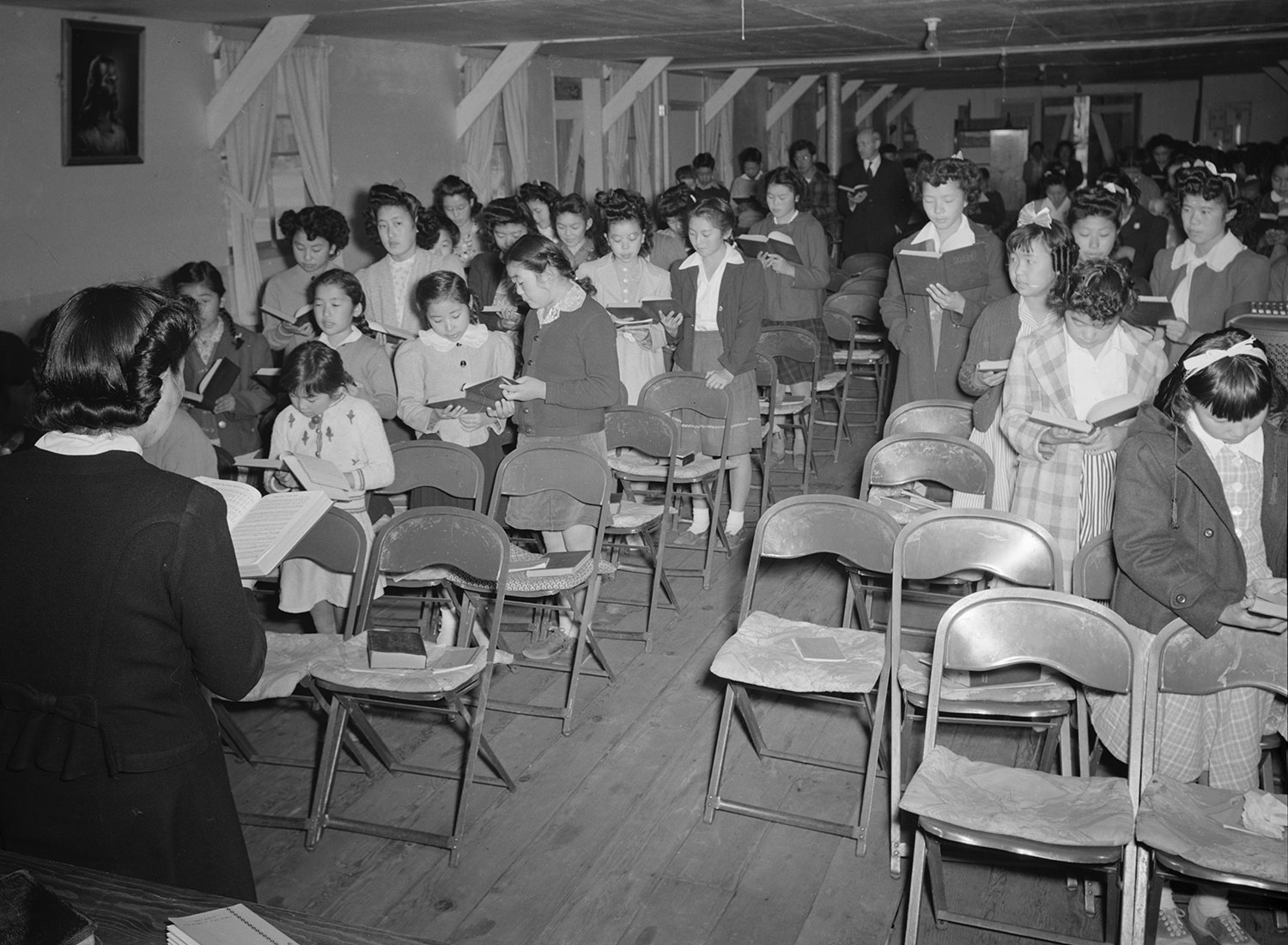 Sunday school, Manzanar War Relocation Center, 1943, Ansel Adams.