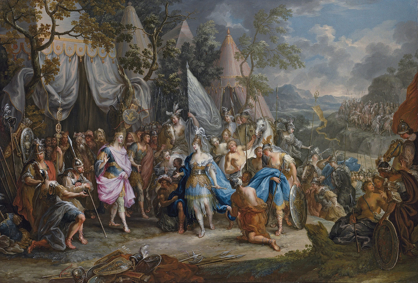 'The Amazon Queen, Thalestris, in the Camp of Alexander the Great', by Johann Georg Platzer, c.1750.