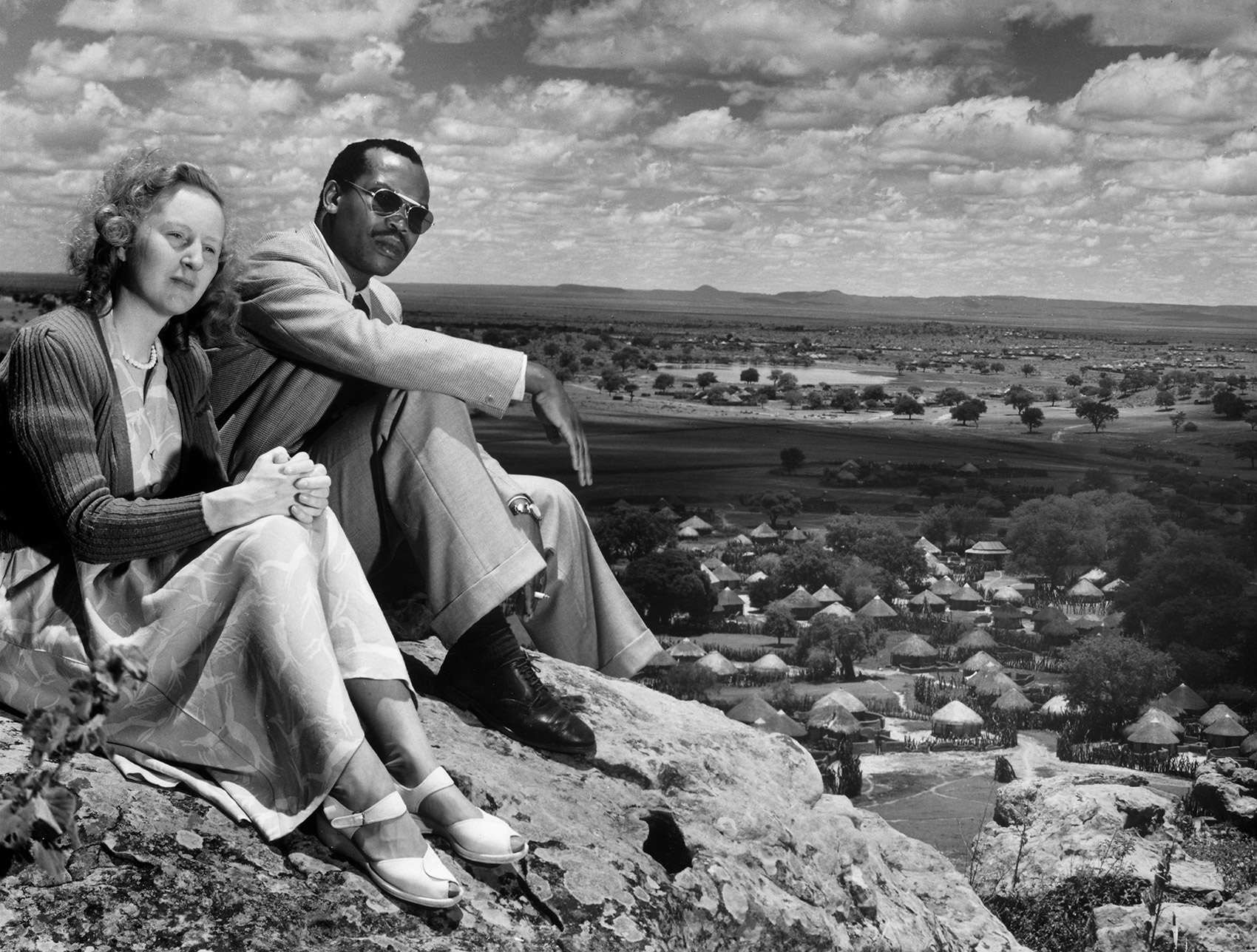 Seretse Khama and his British-born wife, Ruth, overlooking Bechuanaland, 1950.