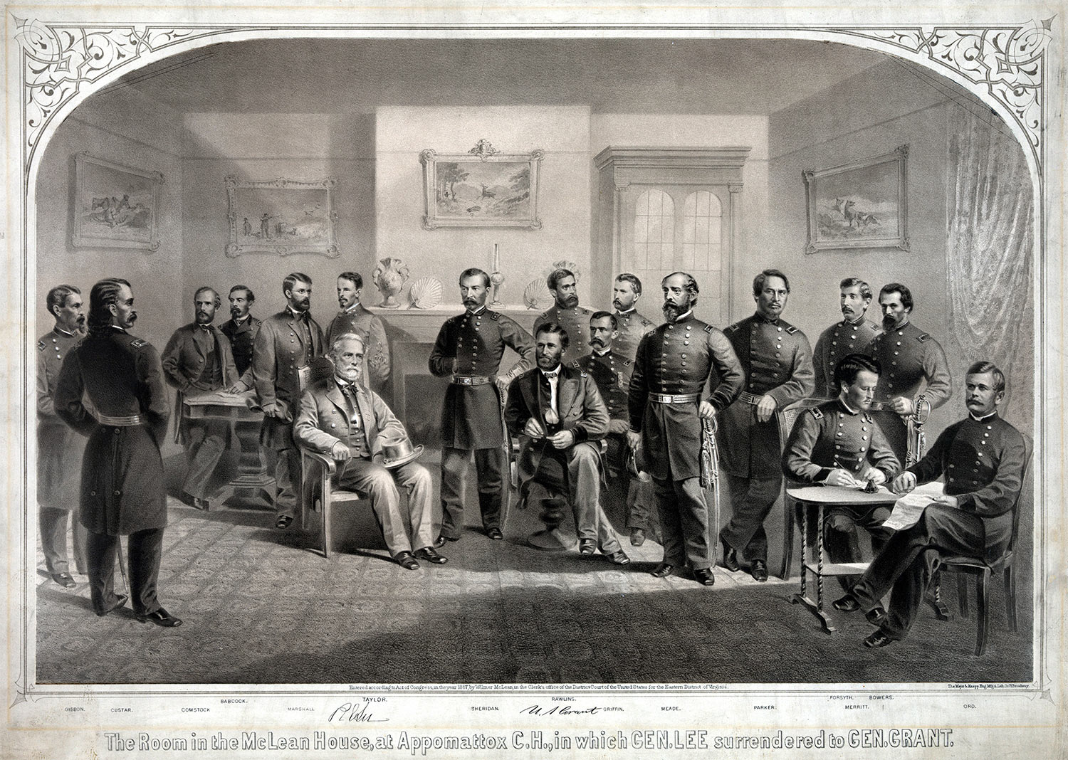 General Lee surrenders to General Grant
