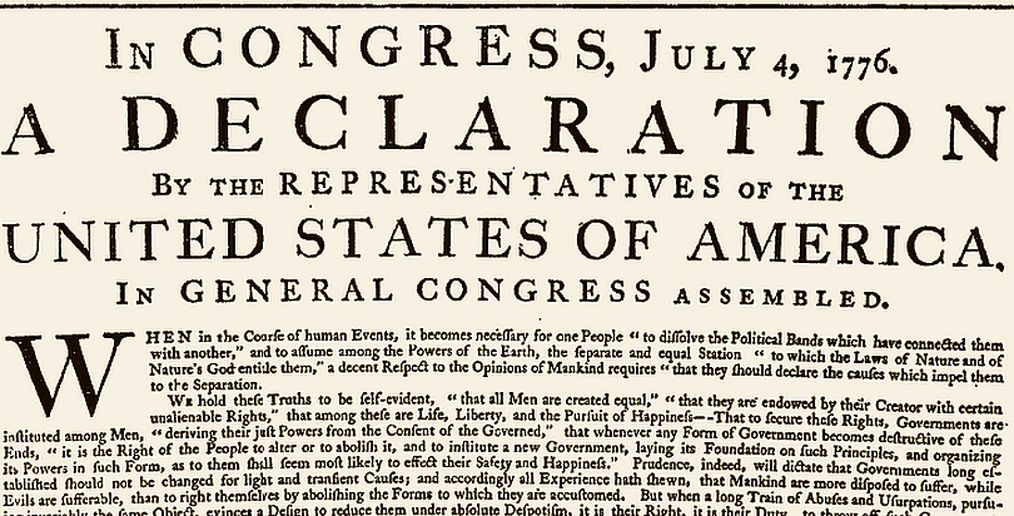 The opening of the original printing of the Declaration, printed on July 4, 1776 under Jefferson's supervision.