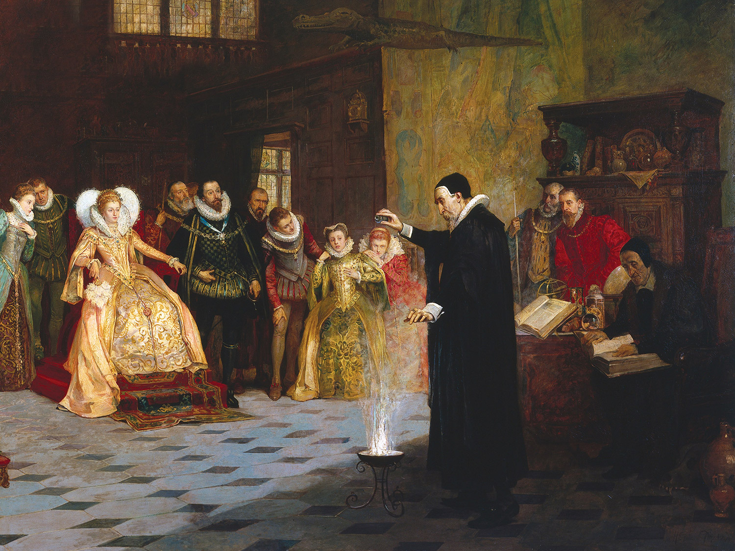 John Dee performing an experiment before Elizabeth I, by Henry Gillard Glindoni (1852-1913).