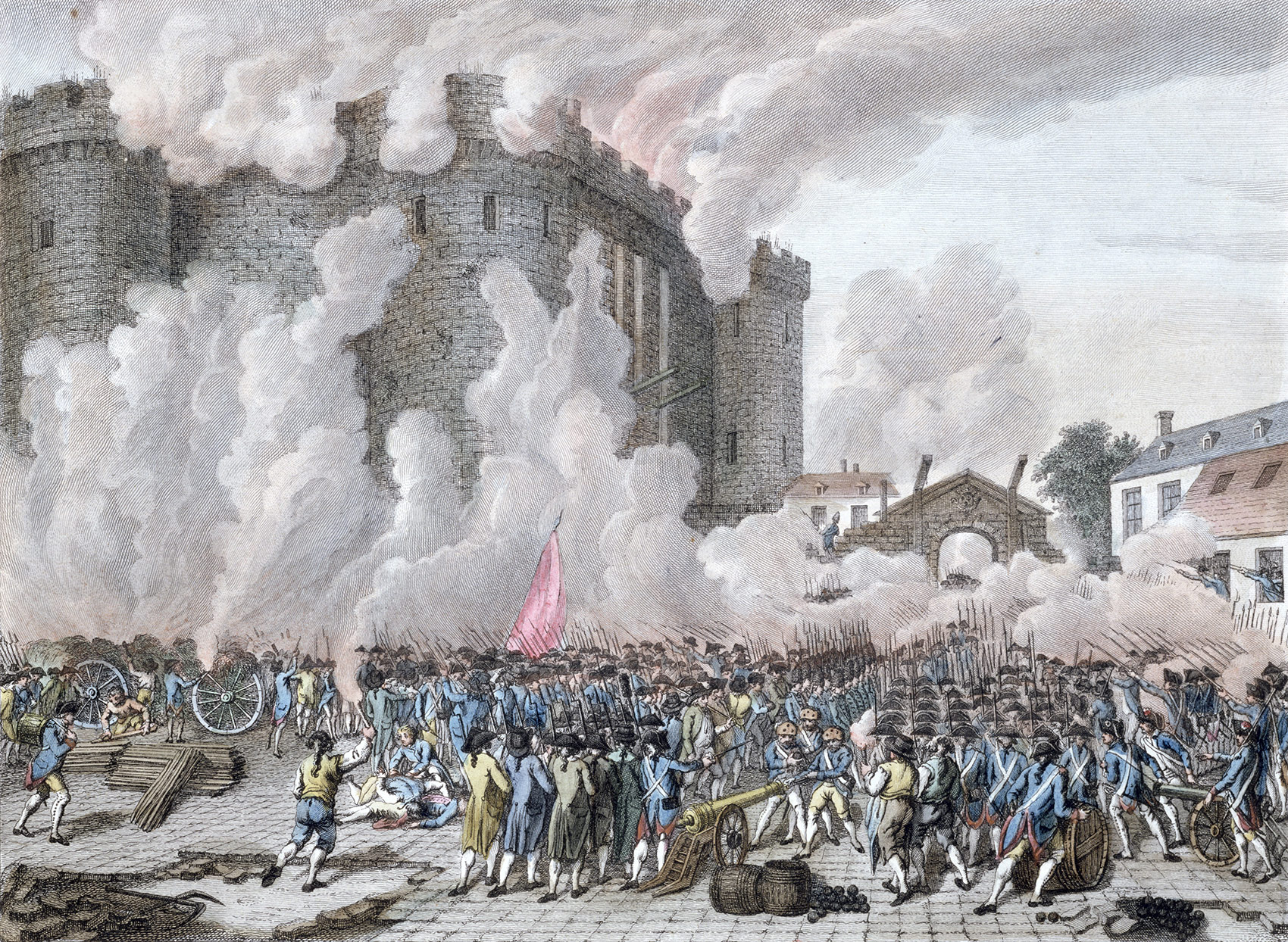 The Taking of the Bastille, July 14th, 1789. Contemporary colour engraving